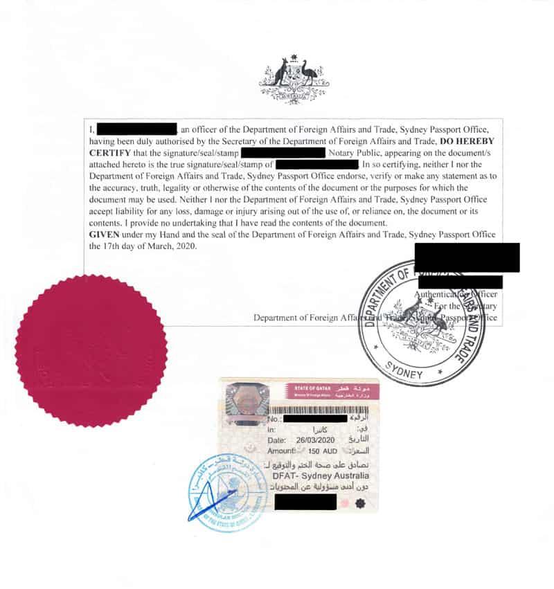 Notarial seal and qatar embassy stamp